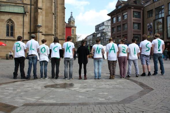 Mobi-Aktion gegen den Neonaziaufmarsch am 1. Mai 2011 auf dem Heilbronner Kiliansplatz