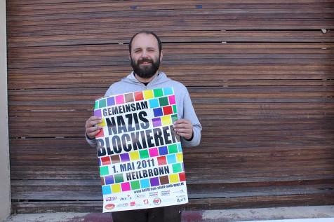 Der Heilbronner Künstler Sergej Vutuc unterstützt die Mobilisierung gegen den Neonaziaufmarsch am 1. Mai 2011 in Heilbronn