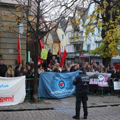 """""""Gegen geistige Brandstifter"""" am Hafenmarkt in Öhringen am 19. November 2016"""