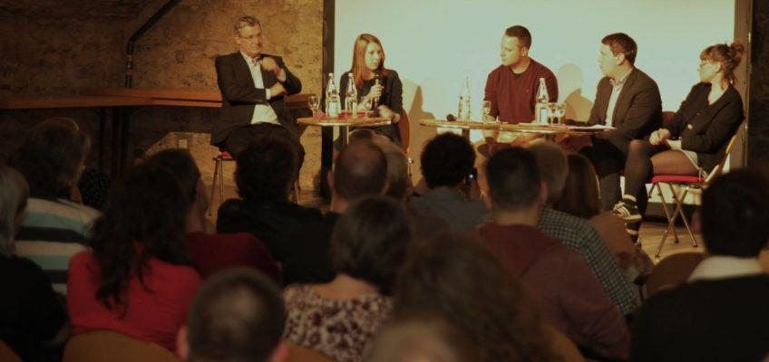 """Das Podium """"Die neuen Rechten auf dem Vormarsch - Was tun gegen AfD und Co.?""""am 29. März 2017 im Heilbronner Deutschhofkeller"""