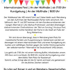 Kundgebung und Internationales Fest gegen die AfD in Weinsberg