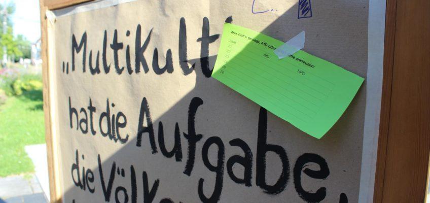 Stellwand auf der Kundgebung gegen die AfD-Veranstaltung in der Heilbronner Harmonie am 13. Juli 2017