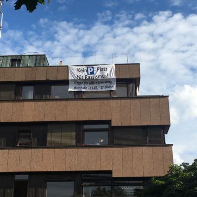 Transparent gegen die AfD-Veranstaltung am 19. Juli 2017 in Weinsberg