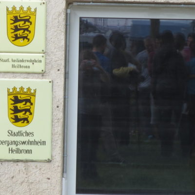 Refugees Liberation Bus Tour am 5. Mai 2013 in der Geflüchteten-Unterkunft in Heilbronn