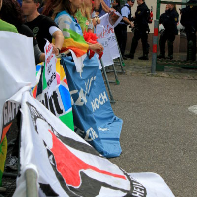 Protest gegen die NPD am 31. August 2013 am Heilbronner Rathaus