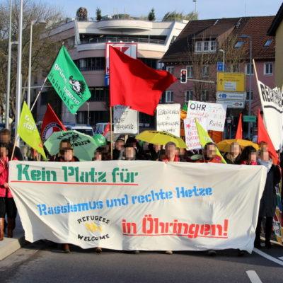 """Demonstration gegen die rassistische Kundgebung """"Hohenlohe wacht auf"""" in Öhringen am 5. Dezember 2015"""